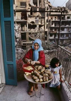 Life goes on… Mother and daughter prepare potatoes in war-torn Lebanon (photo by Steve McCurry) The question is: Can they still be there tomorrow?