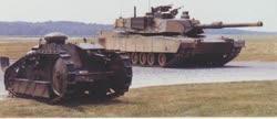 M1A2 prototype with the Ford 3-ton tank at Aberdeen, 1986