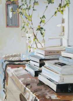 House library - Laura Lacambra Shubert American,b.1960s- Mixed Media on canvas, 40 x 30 In